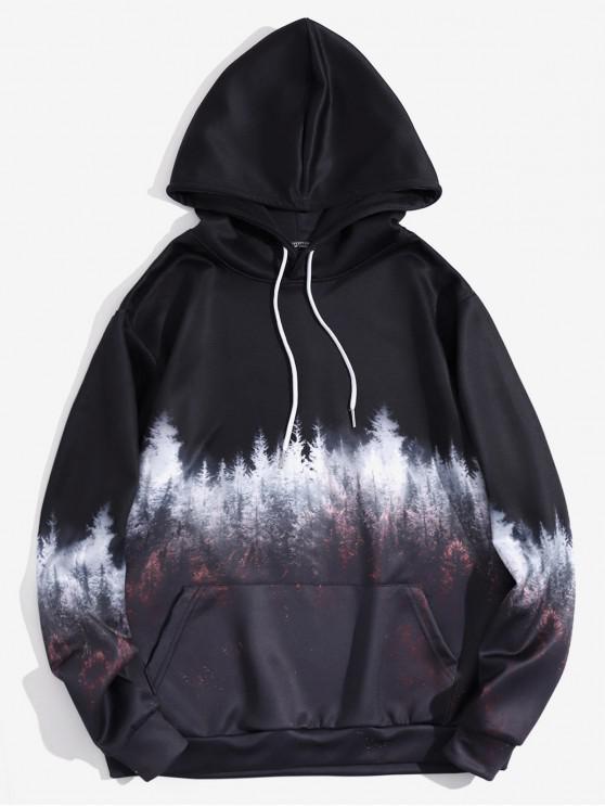 shop Forest Scenery Print Pullover Kangaroo Pocket Hoodie - BLACK EEL M