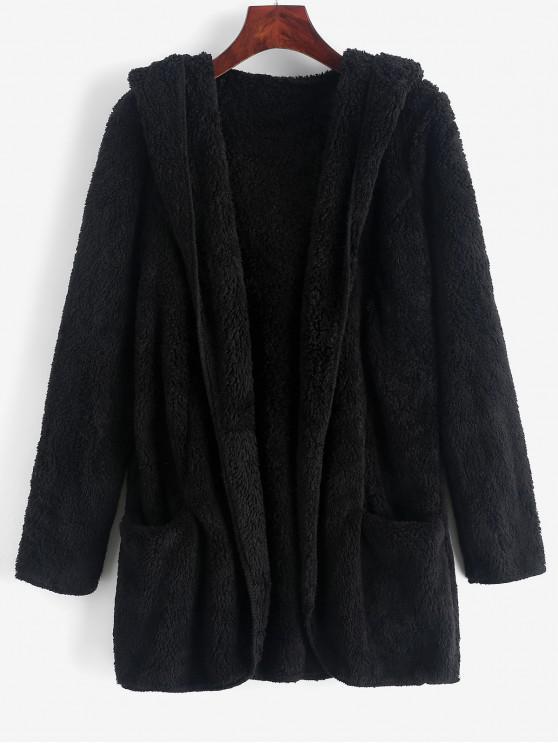 sale Fluffy Hooded Open Front Teddy Coat - BLACK L