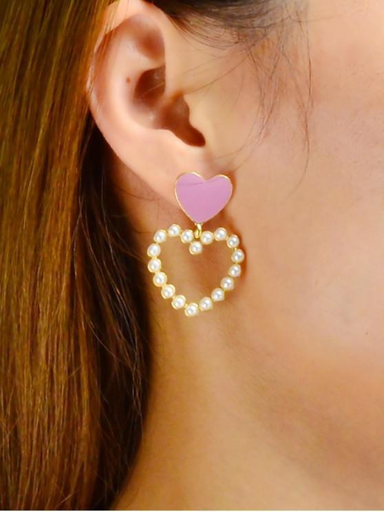 hot Heart Shape Dangle Hollowed Earrings - WHITE