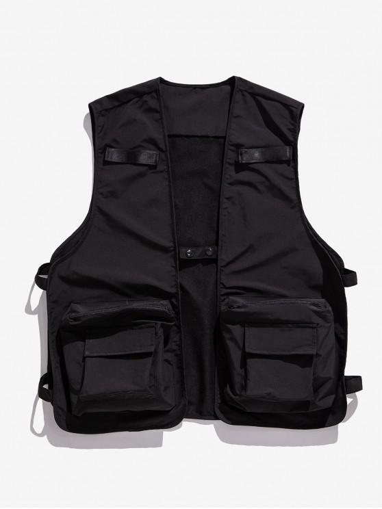 women's Solid Color Zipper Pocket Cargo Strap Vest - BLACK L
