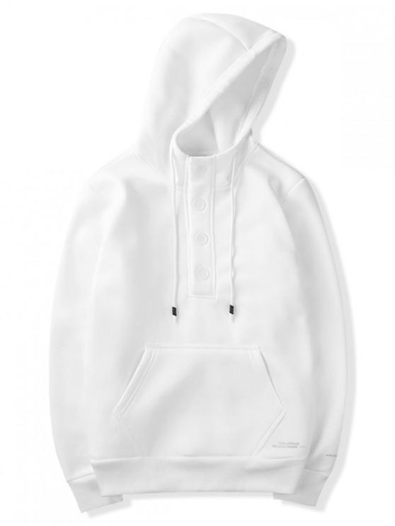 fancy Half Button Solid Color Letter Print Drawstring Fleece Hoodie - WHITE L