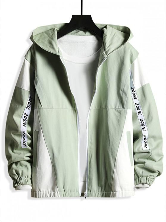 buy Color-blocking Letter Printed Long-sleeves Jacket - LIGHT GREEN XL