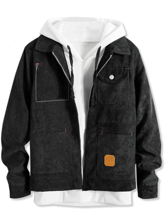 Chaqueta informal de pana con cremallera y bolsillo delantero - Negro S