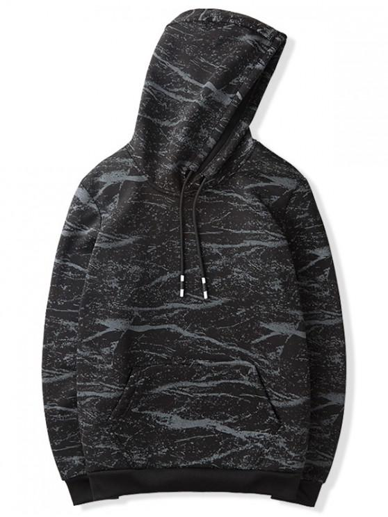 new Marble Texture Print Drawstring Pullover Fleece Hoodie - BLACK XS