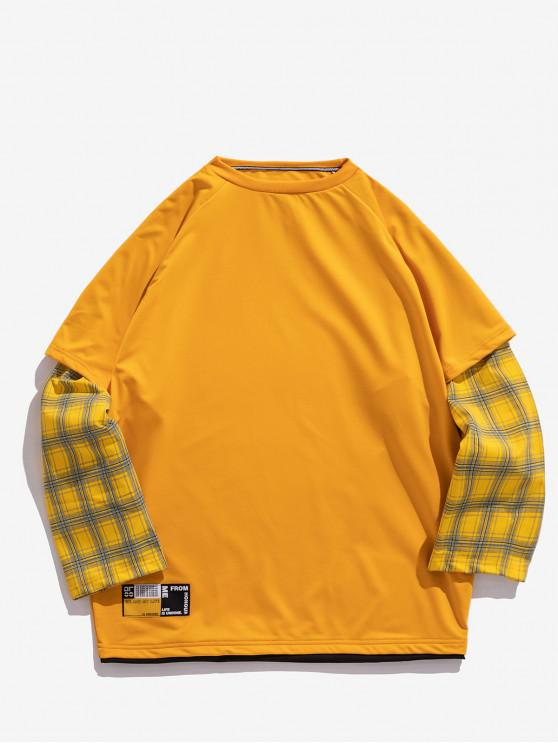 ladies Plaid Splicing Faux Twinset Crew Neck Sweatshirt - YELLOW XL