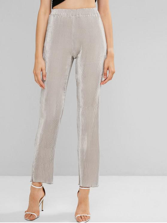 affordable Metallic Pleated High Waisted Solid Color Pants - LIGHT GRAY L
