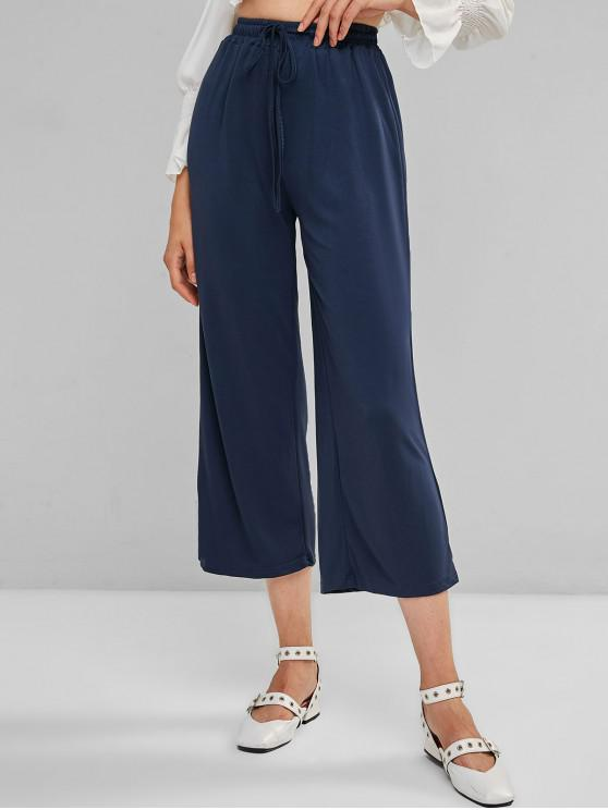 womens Drawstring Wide Leg High Waisted Pants - BLUE ONE SIZE