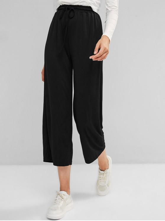 women's Drawstring Wide Leg High Waisted Pants - BLACK ONE SIZE