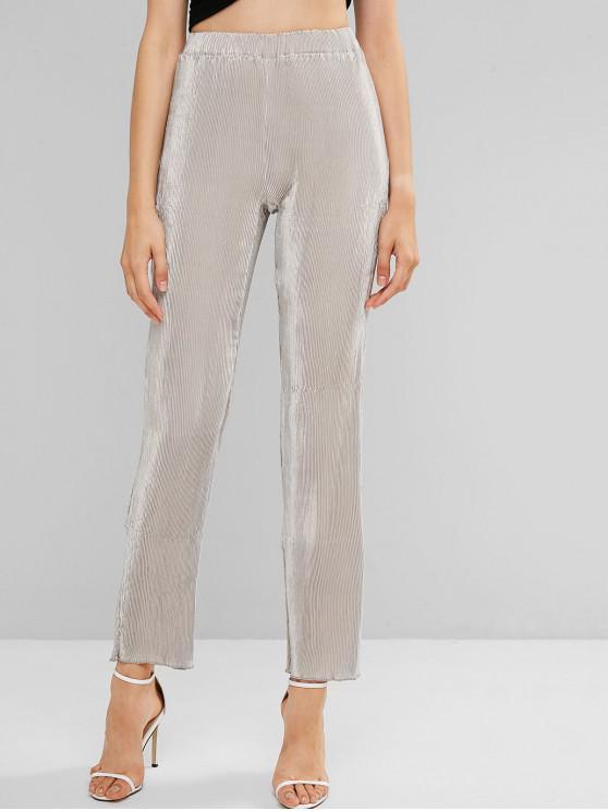 Pantalones de color liso plisado metálico de cintura alta - Gris Claro XL