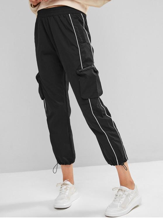chic Zipper Pockets Piping Jogger Pants - BLACK S