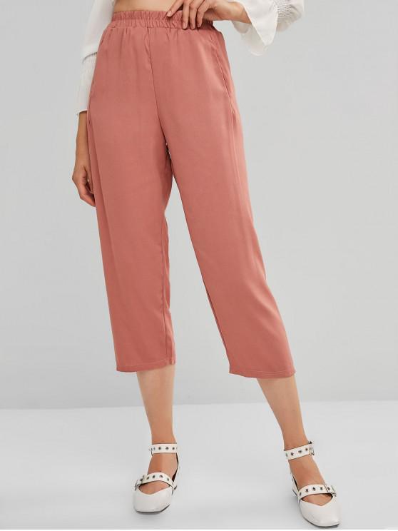 unique High Rise Pocket Plain Straight Pants - PINK ONE SIZE