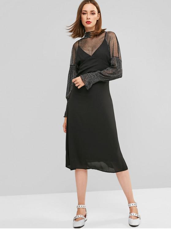 shop Back Zipper Solid Midi Pinafore Dress - BLACK XL