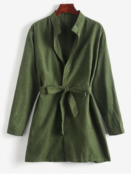 Длинное Одноцветное Пальто С боковым разрезом С поясом - Камуфляж-зеленый M