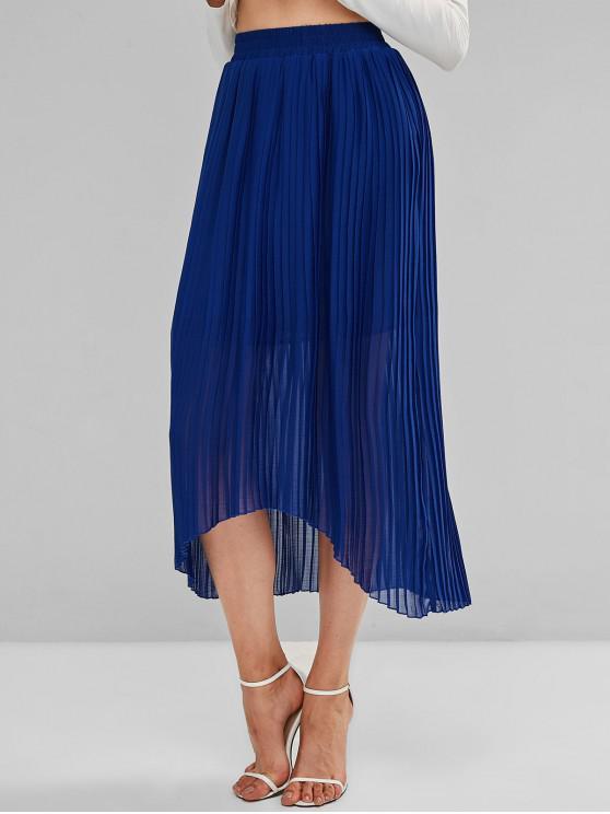 Falda larga plisada baja y alta sólida de ZAFUL - Azul S