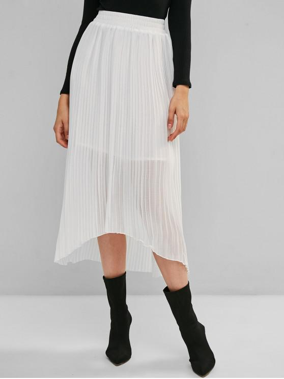 fashion ZAFUL Solid High Low Pleated Maxi Skirt - WHITE S