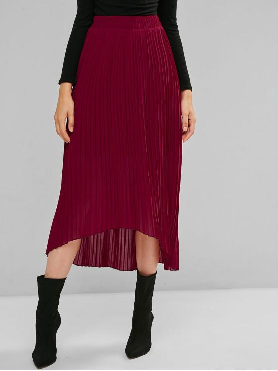 shop ZAFUL Solid High Low Pleated Maxi Skirt - RED WINE M