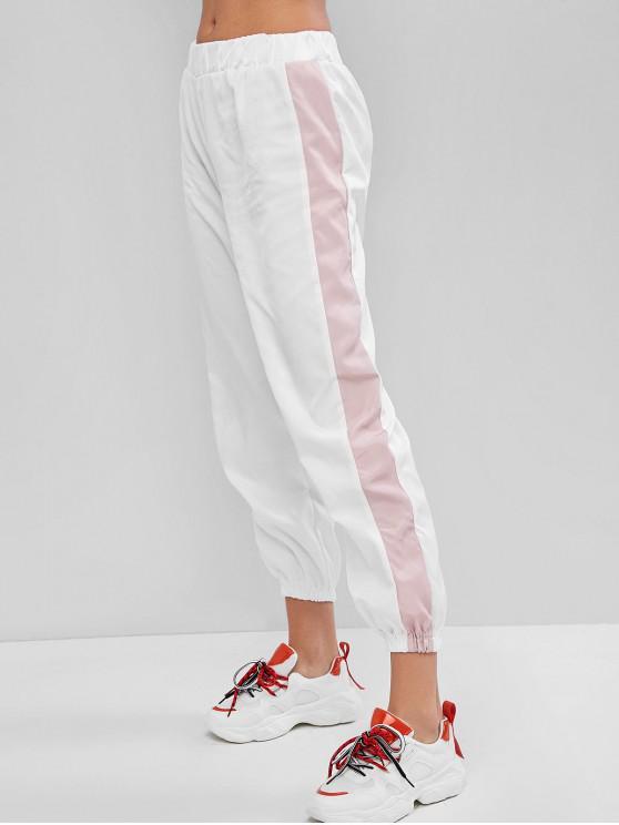 Pantalones Bermudas con Cintura Alta en Contraste - Blanco S