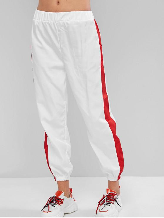 ladies High Waisted Contrast Jogger Pants - BLUSH RED L