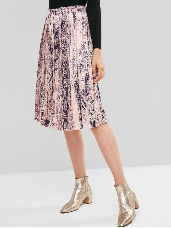 buy ZAFUL Button Up Snake Print Pleated Skirt - MULTI-A S