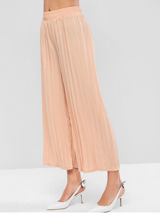 latest Solid High Waisted Pleated Wide Leg Pants - APRICOT S