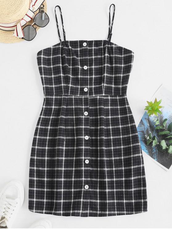 shops ZAFUL Button Up Plaid Sheath Cami Dress - MULTI M
