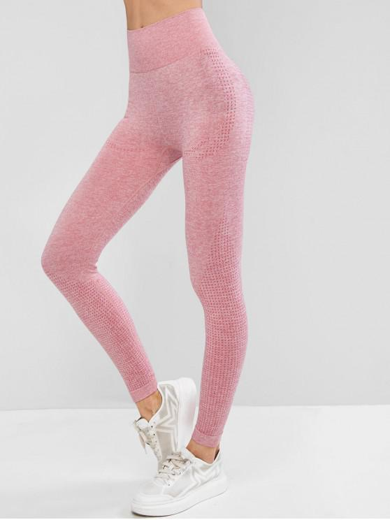 affordable High Waist Heathered Sports Leggings - PINK M