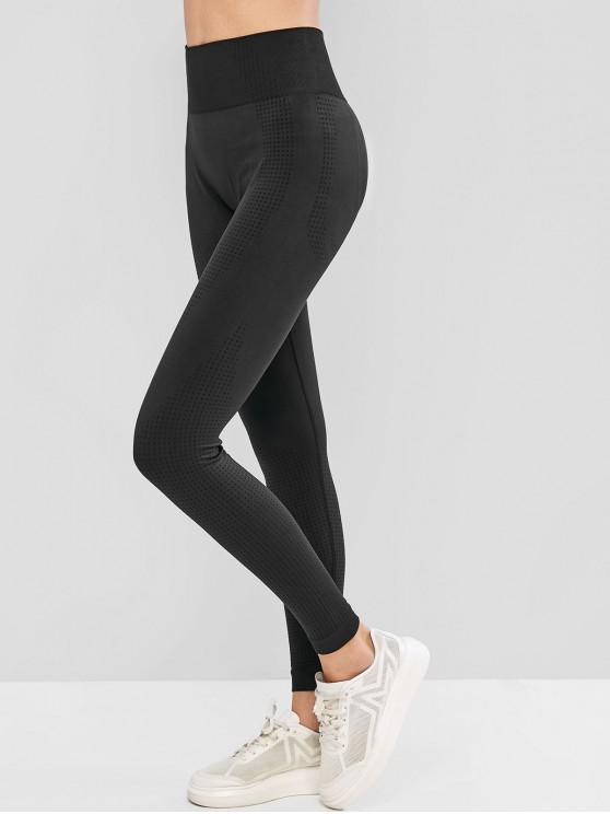 fashion High Waist Solid Color Sports Leggings - BLACK M