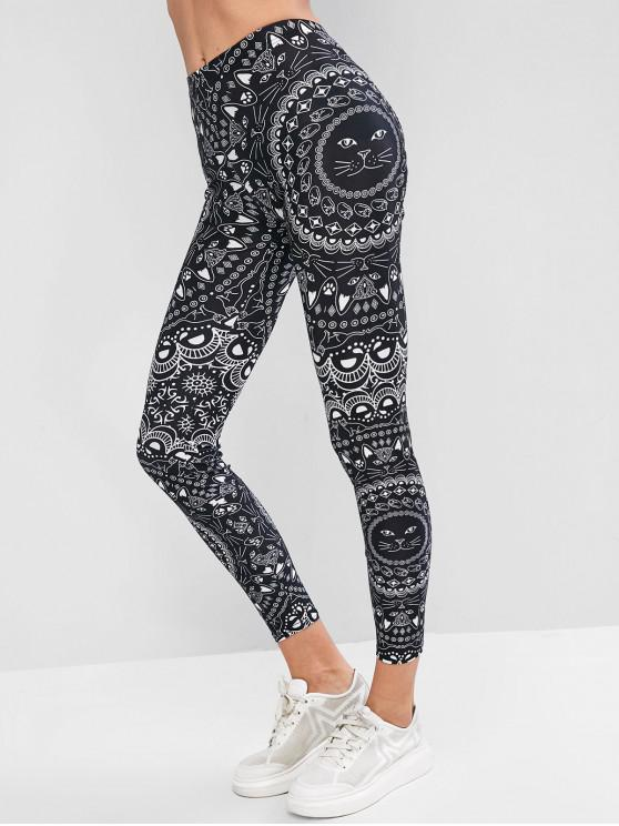 sale Flower Cat Print Skinny Gym Leggings - BLACK XL