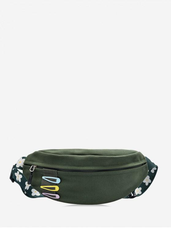women Crossbody Flower Pattern Belt Chest Bag - ARMY GREEN