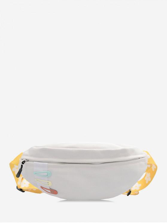 women Crossbody Flower Pattern Belt Chest Bag - WHITE