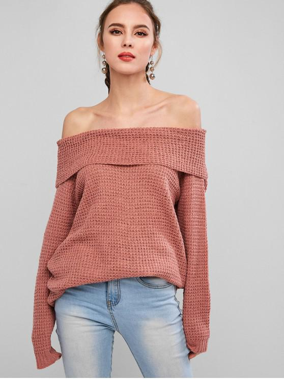 Solid Pullover Off Shoulder Overlay Sweater - Pink