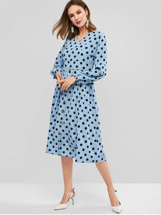 ladies Long Sleeve Buttoned Front Polka Dot Midi Dress - LIGHT BLUE S