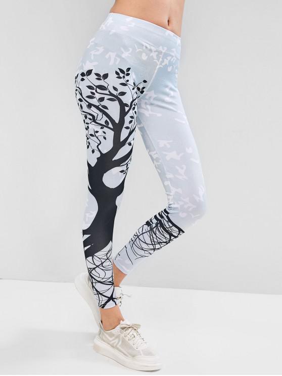 buy Tree Graphic Mid Waist Yoga Leggings - LIGHT CYAN L