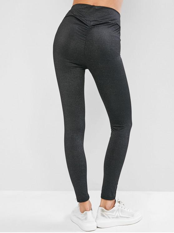 outfit Ruched Back Heather Gem Leggings - BLACK M