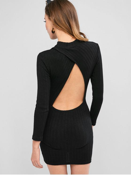 Mini Robe Moulante Découpée au Dos à Manches Longues - Noir S