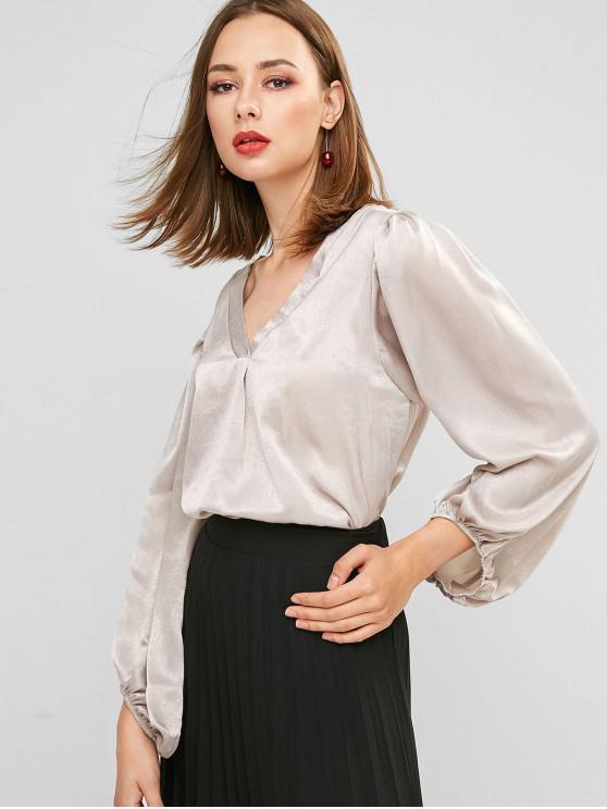 fashion Plunge Lantern Sleeve Curved Oversized Blouse - GRAY XL