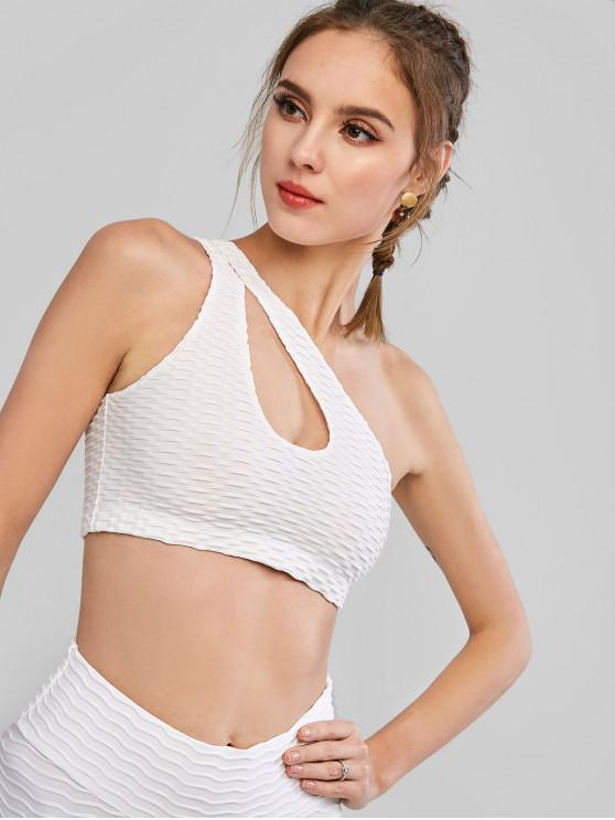 new Cut Out One Shoulder Textured Tank Top - WHITE L