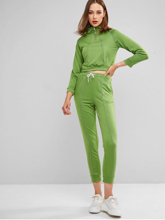 Sweat-shirt Survêtement Court à Demi-Zip - Vert Trèfle S