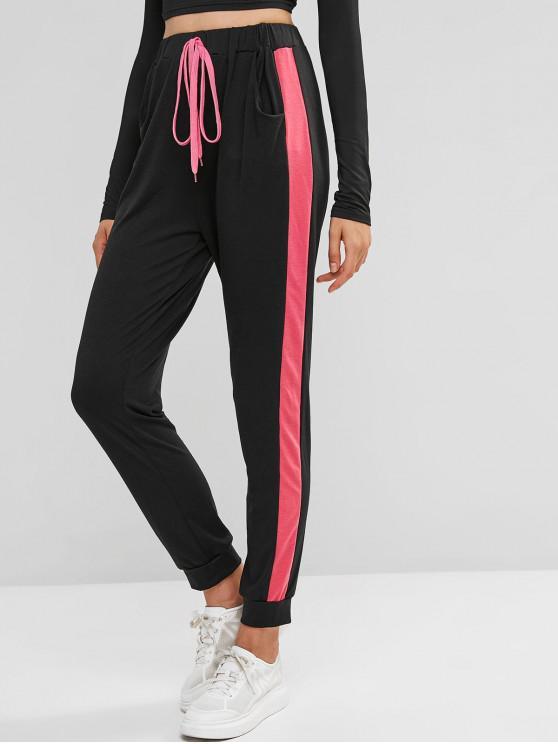 Pantalon de Jogging Rayé à Côté à Cordon - Noir L