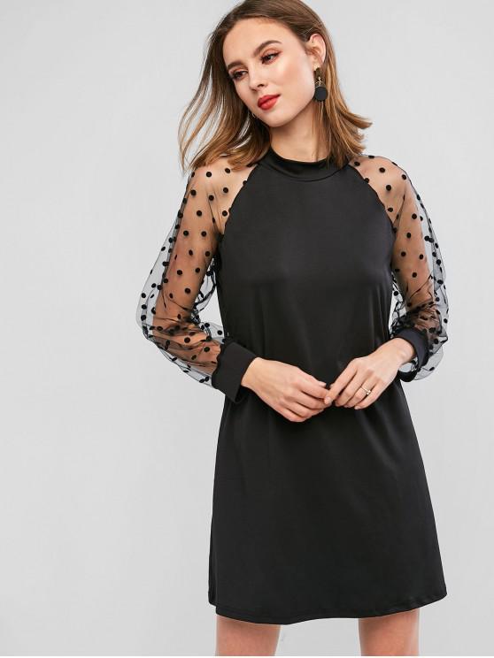 С длинным рукавом Принт в горошек Сетчатая вставка Мини-Платье - Чёрный XL