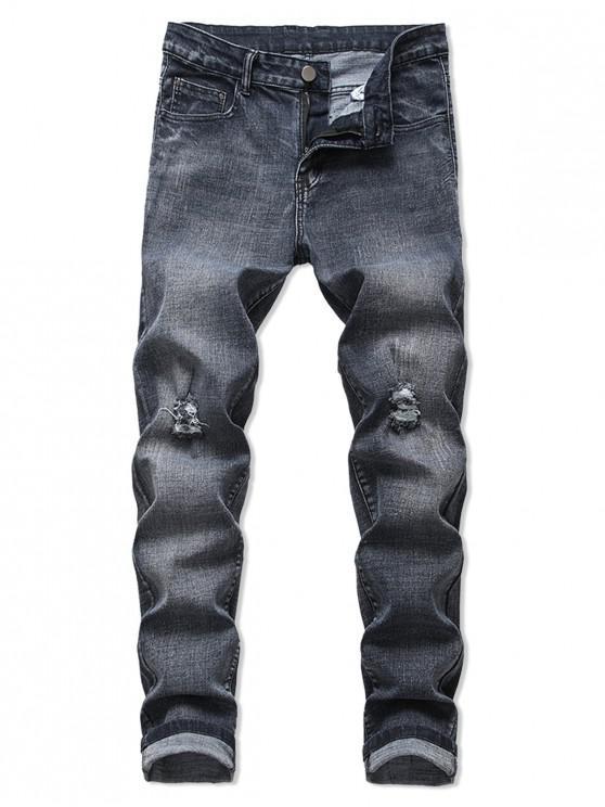 trendy Distressed Long Ripped Jeans - DENIM DARK BLUE 42