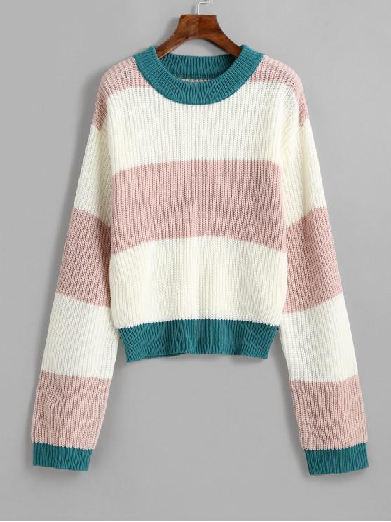 hot ZAFUL Pullover Crew Neck Colorblock Sweater - MULTI XL