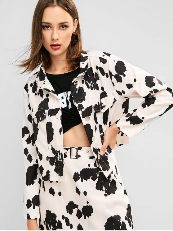 shops ZAFUL Button Front Cow Print Faux Pockets Shirt Jacket - MULTI-A L