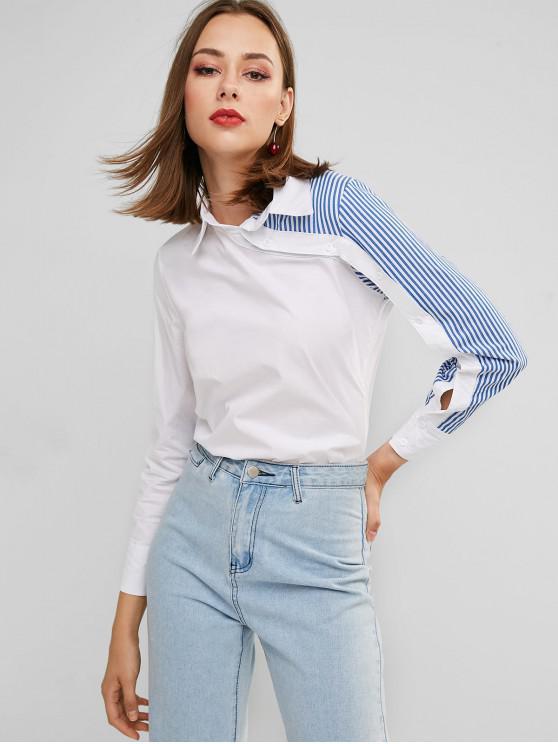 على النقيض من قميص لوحة مخطط زرر العمل - أبيض XL