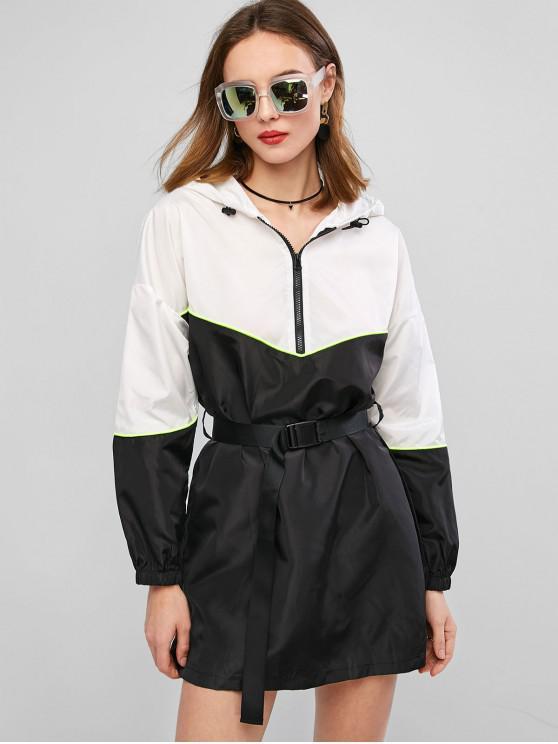 fancy ZAFUL Two Tone Zip Hooded Neon Trim Belted Dress - BLACK S