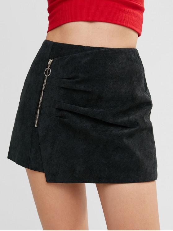Zip Embellished Асимметричный Skort - Чёрный M