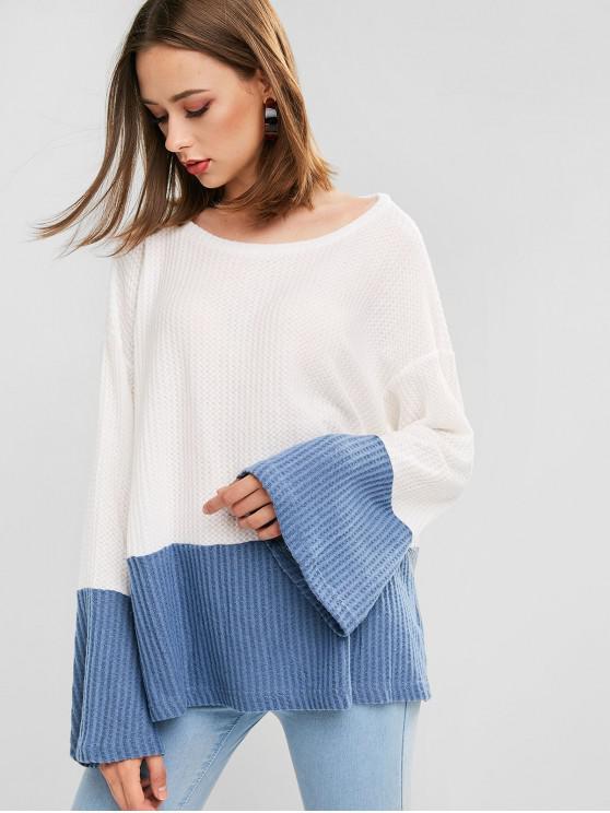 Colorblock gota del hombro flojo suéter - Azul S