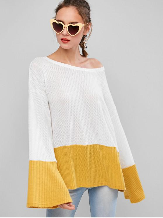 fashion Colorblock Drop Shoulder Loose Sweater - YELLOW S