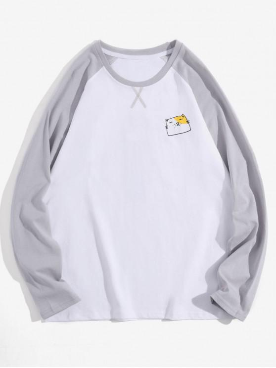 affordable Creative Animal Graphic Casual Long Sleeve T Shirt - WHITE L
