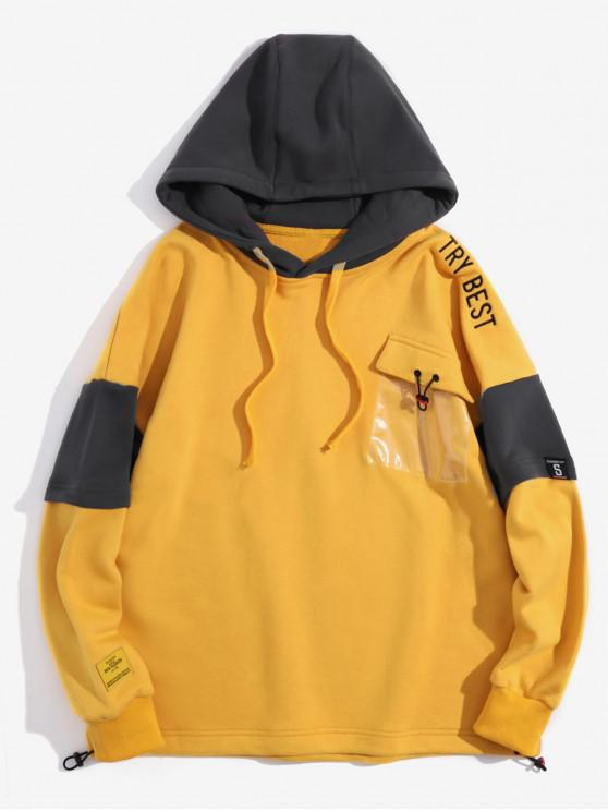 latest Try Best Embroidery 2 in 1 Clear Pocket Hoodie - SUN YELLOW XL